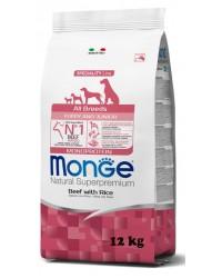 MONGE SUPERPREMIUM All Breeds Puppy & Junior Manzo con Riso da 12 kg