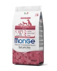 MONGE SUPERPREMIUM All Breeds Adult Monoproteico  Manzo con Riso da kg 12