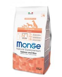 Monge SUPERPREMIUM ALL BREEDS ADULT Salmone e Riso da 12 kg cane ( ex formato da kg 15 )