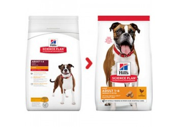 Hill's Science Plan Canine Adult Medium Light con Pollo 14 Kg secco 12+2 Kg Offerta € 3,04 / kg